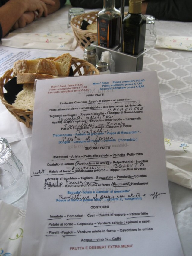 Ciancino menu -plates of the day circled