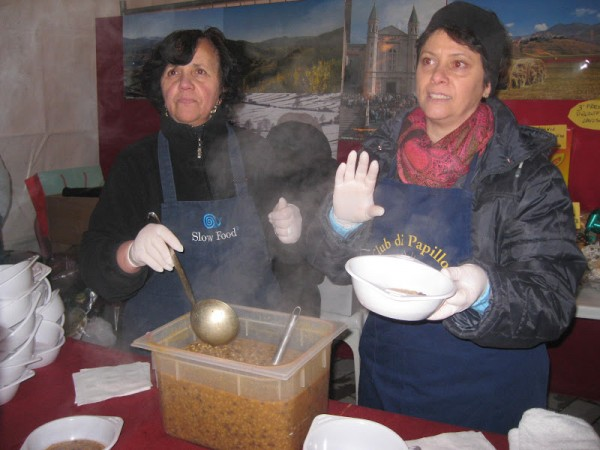 Geltrude and Silvana dish up their buonissimo zuppa di roveja