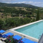 Travertine pool has panoramic views.